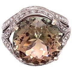 10.07 Carat Bi-Color Tourmaline and Diamond Ring
