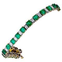 10.07 Carat Emerald & 4.47 Carat Diamond Platinum 18 Karat Yellow Gold Bracelet
