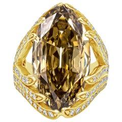 Roman Malakov 10.07 Carat Fancy Deep Brown Yellow Marquise Cut Diamond Ring