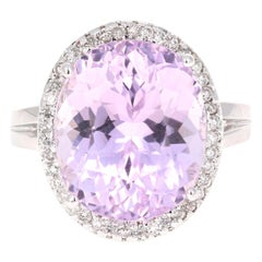 10.07 Carat Kunzite Diamond 14 Karat White Gold Bridal Ring