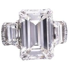 10.07 Emerald Cut Diamond Ring, GIA Certified