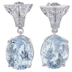 10.08 Carat Aquamarine Diamond Platinum Dangle Earrings
