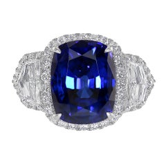 10.08 Carat GRS Certified White Gold Sapphire and Diamond Three Stone Ring