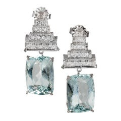10.09 Carat Aqua Diamond Dangle Art Deco Platinum Earrings