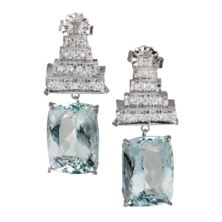 10.09 Carat Aqua Diamond Dangle Art Deco Platinum Earrings