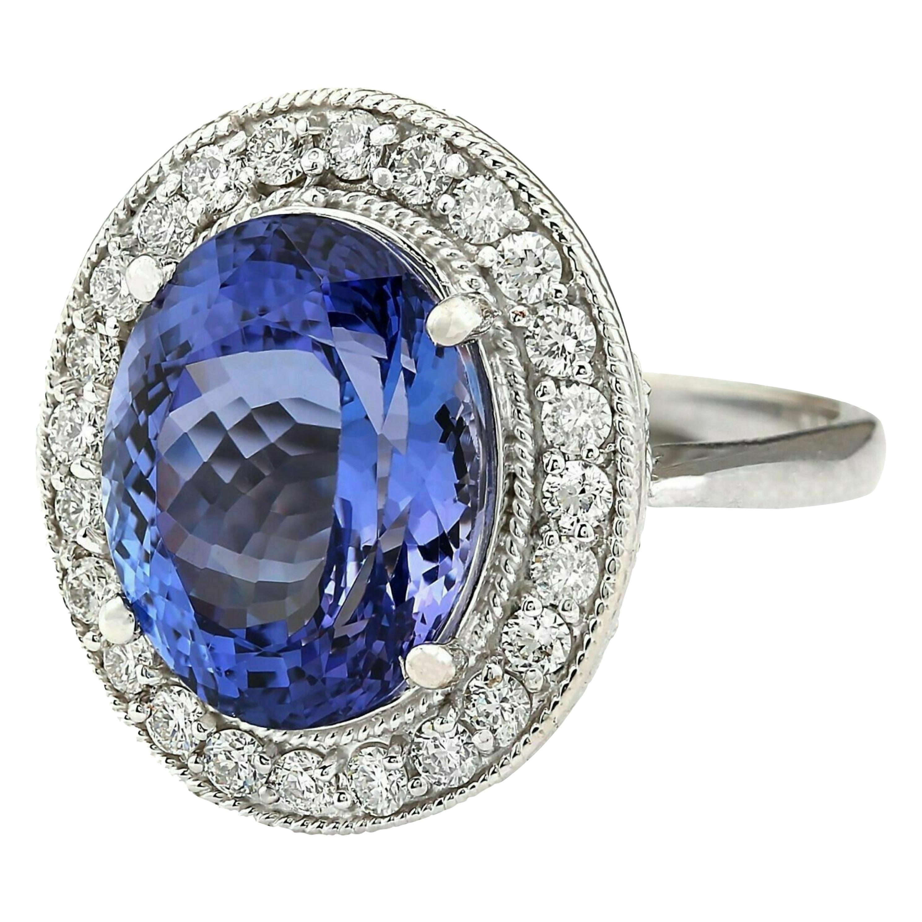 14.56 Carat Tanzanite Diamond Ring 14 Karat White Gold
