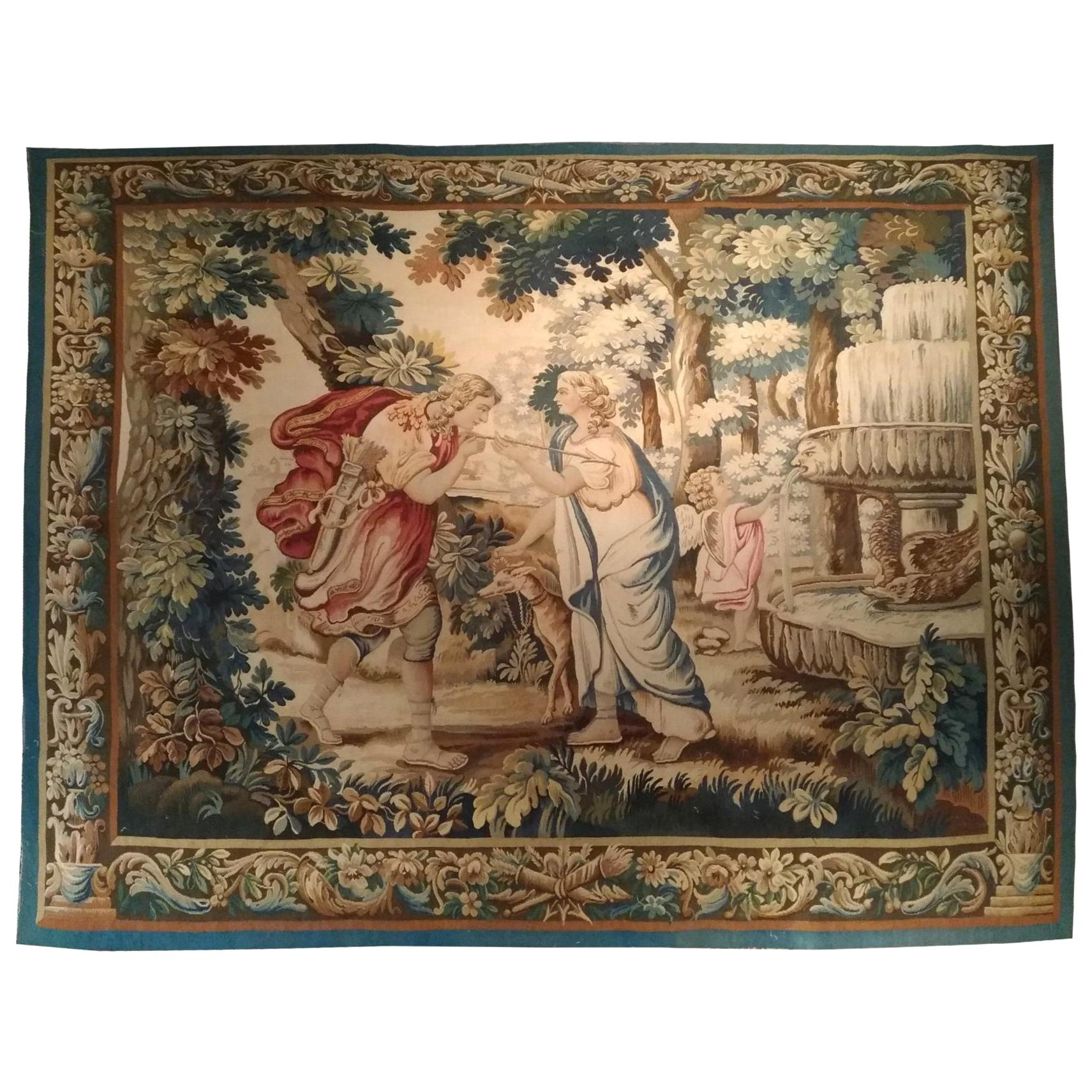 1009 - Luxurious 19th Century Aubusson Tapestry with a Beautiful Romantic