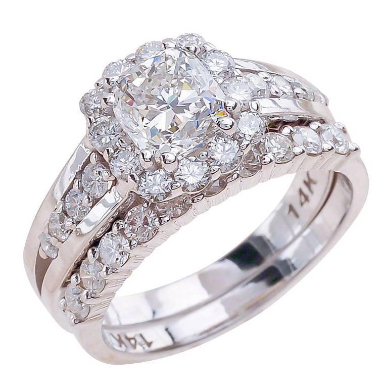 1 00ct Cushion Cut Moissanite Bridal Ring Set In 14k White Gold For
