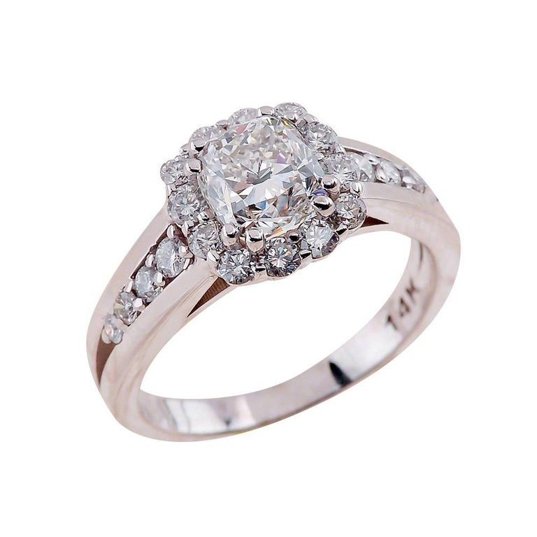 1.00ct Cushion Cut Moissanite Engagement Ring in 14K White Gold