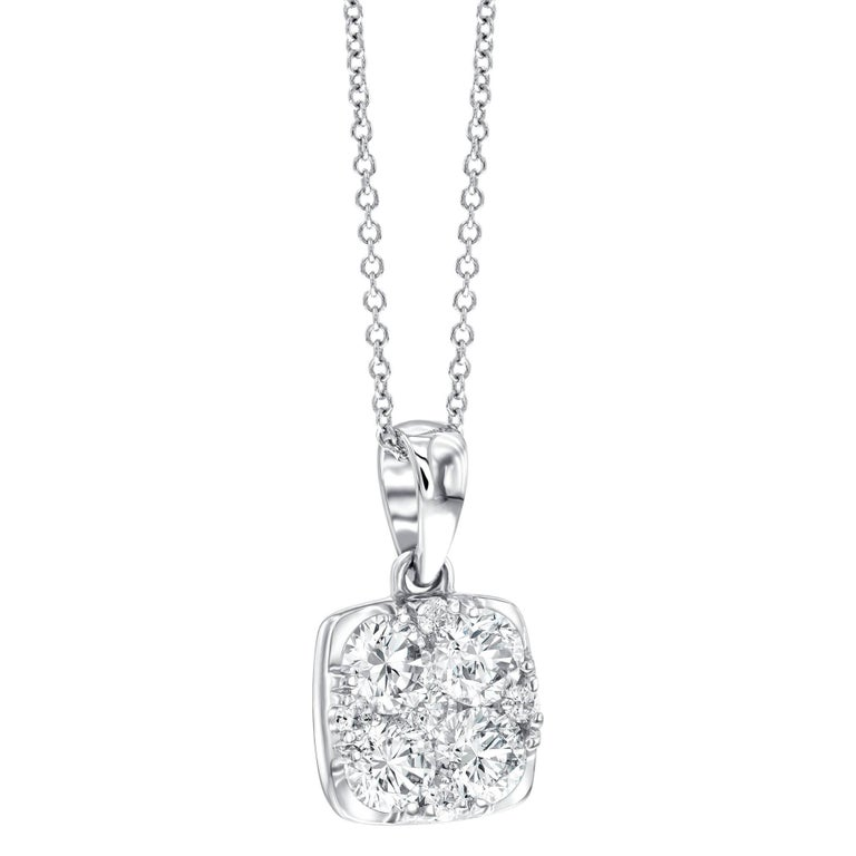 1.00CT Cushion Cut Round White Diamond Cluster 18Karat White Gold Chain Pendant