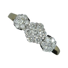 1.00ct Diamond 18ct Gold Triple Cluster Ring