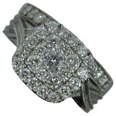 1.00ct Diamond 9ct White Gold Bridal Set Engagement & Eternity Ring