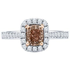 1.00ct Fancy Orange/Brown Cushion Cut Diamond 18k White Gold Ring, GIA Certified