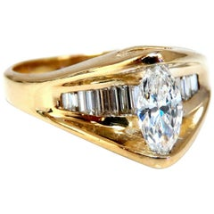 1.00Ct Natural Marquise Diamond Ring 14 Karat Gold Bypass Baguette Raised Mod