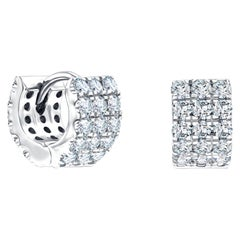 1.00ct Round Brilliant Claw Set Wide Diamond Hoop Earrings In 18karat White Gold
