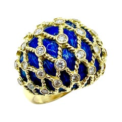 1.00ct Round Brilliant Diamond and Royal Blue Enamel Domed 18k Cocktail Ring
