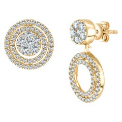 1.00 Carat Round Brilliant Diamond Fancy Cluster Drop 18 Karat Gold Earrings