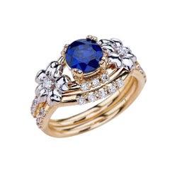 1.00 Carat Round Cut Blue Sapphire Engagement Ring Set in 14 Karat Gold