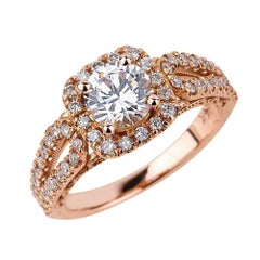 1.00ct Round Cut Moissanite Engagement Ring in 14K Rose Gold