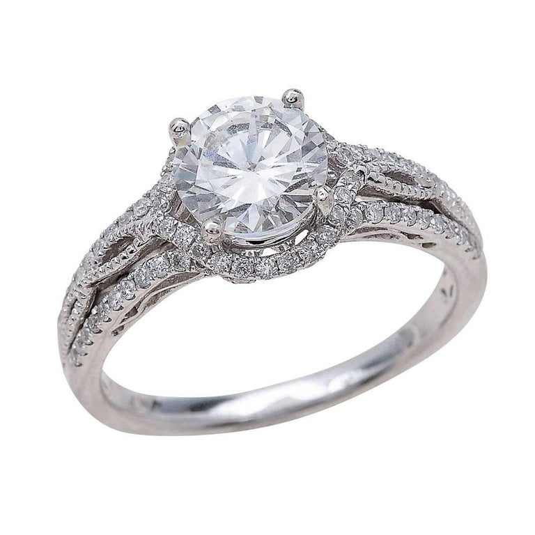 1.00ct Round Cut Moissanite Engagement Ring in 14K White Gold
