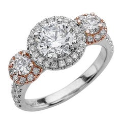 1.00ct Round Cut Moissanite Three Stone Ring in 14K White and Rose Gold