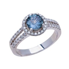 1.00ct Round Cut Teal Sapphire Engagement Ring in 14K White Gold