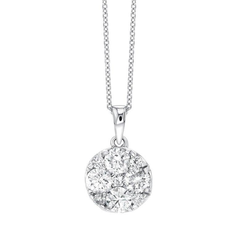 1.00 Carat Round White Diamond Claw Set Cluster 18 Carat Gold Chain Pendant