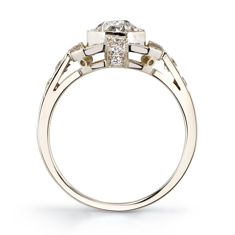 Art Deco 1.00ctw Old European Cut Diamond Set in a Handcrafted White Gold Engagement Ring For Sale
