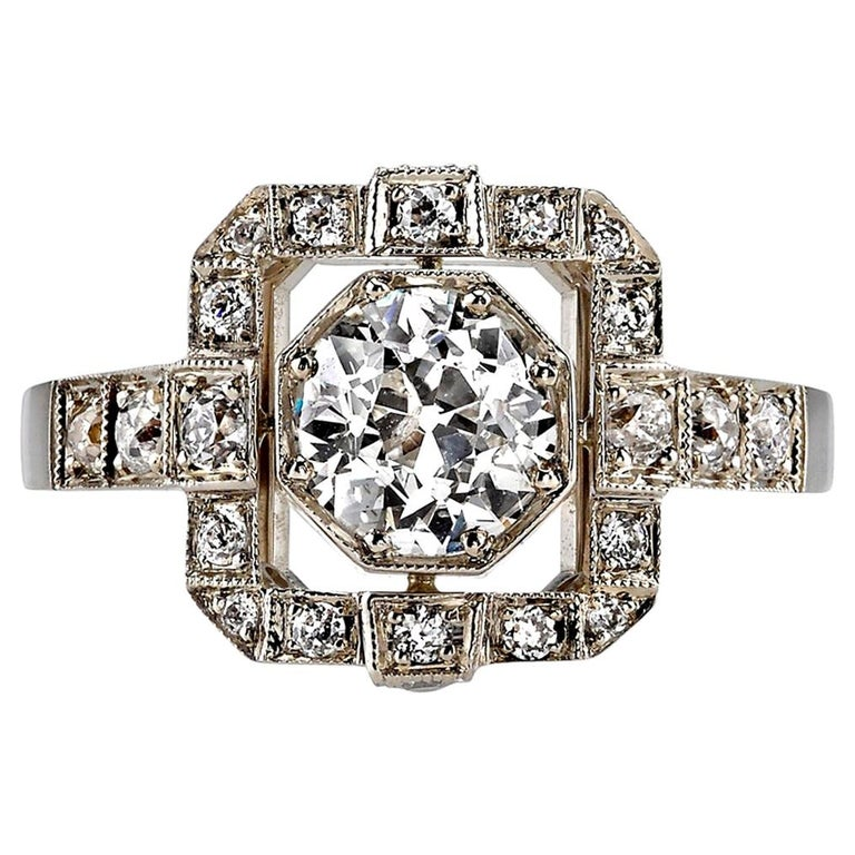 1.00ctw Old European Cut Diamond Set in a Handcrafted White Gold Engagement Ring For Sale