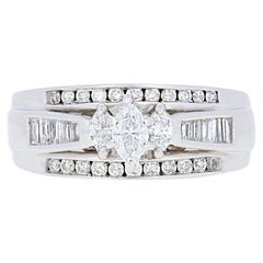 1.00ctw Marquise Cut Diamond All-In-One Engagement Ring - 14k White Gold Wedding