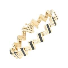 """1.00ctw Round Brilliant Diamond & Onyx Bracelet 6 3/4"""" - 14k Gold Zig-Zag Link"""