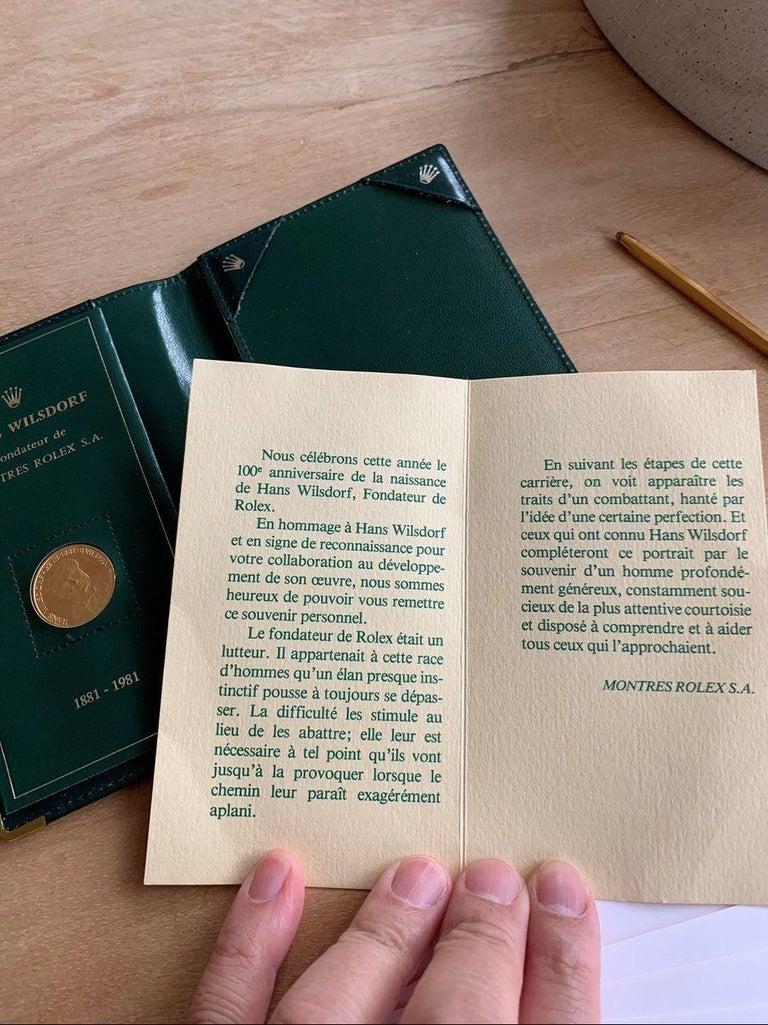 Swiss 100th Birthday Rolex Gold Coin Set Hans Wilsdorf, 1881-1981 For Sale