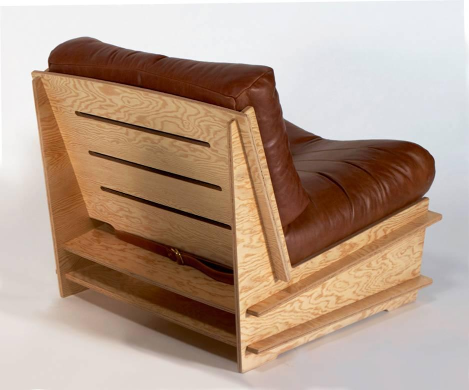 American 100xbtr Contemporary DB Chair With Douglas Fir Plywood Base And  Leather Cushion For Sale