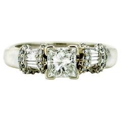 1.01 Carat 14 Karat White Gold GSL Certified Princess Diamond Engagement Ring