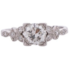 1.01 Carat Art Deco Diamond Platinum Engagement Ring