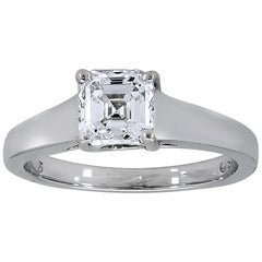 1.01 Carat Asscher Cut Diamond Solitaire Engagement Ring
