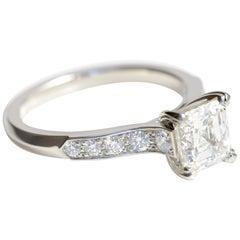 1.01 Carat Asscher Cut Diamond Solitaire Engagement Ring in Platinum