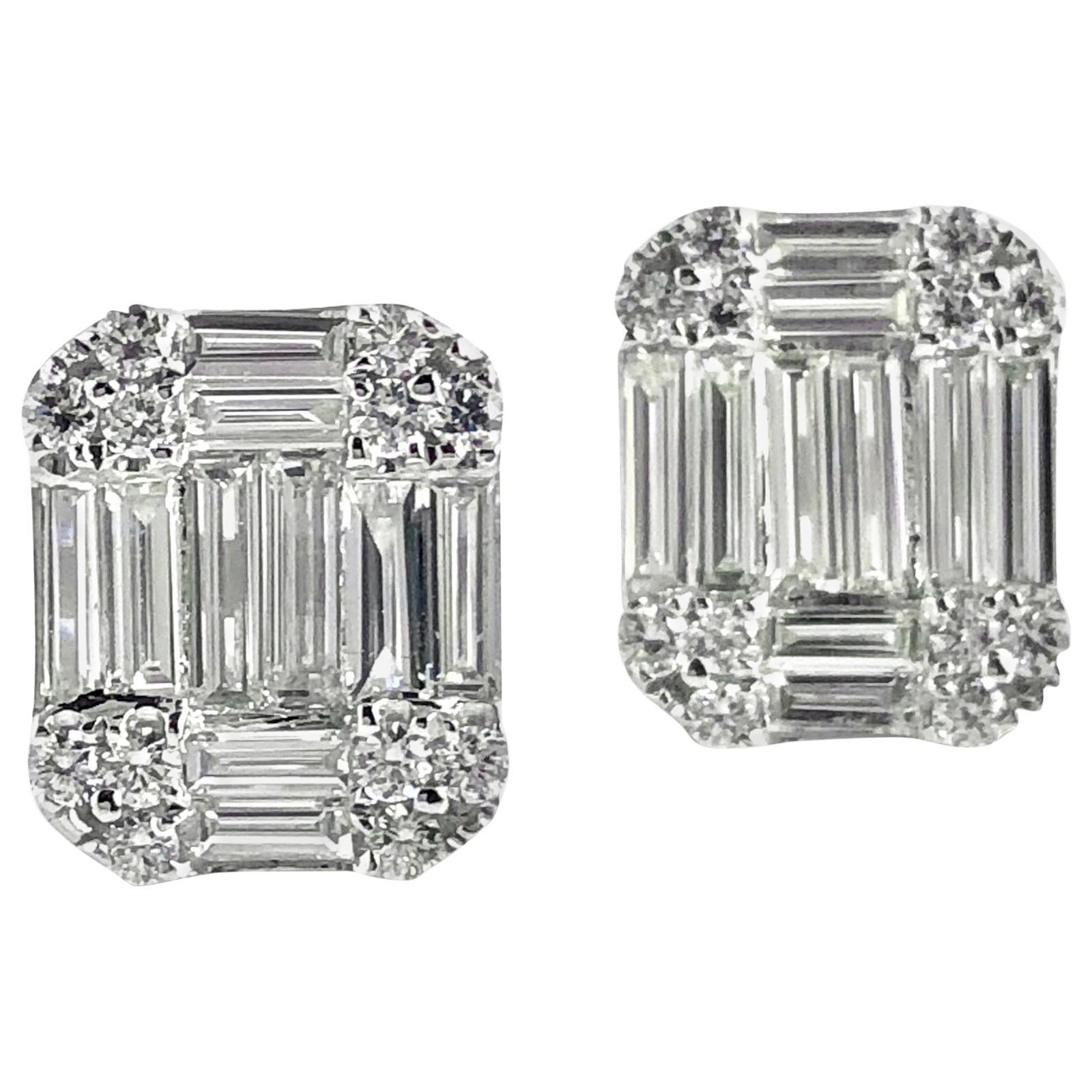 DiamondTown 1.01 Carat Baguette and Round Diamond Earrings in 18K White Gold