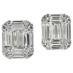 DiamondTown 1.01 Carat Baguette and Round Diamond Earrings in 18K White Gold