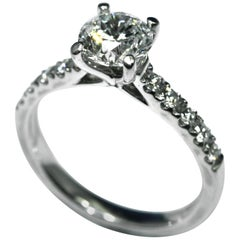 Ring 1.01 Carat Brilliant Cut Diamond Mounted in Platinum