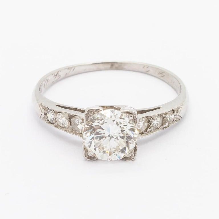 1.01 Carat Brilliant Cut Diamond Platinum Ring In Good Condition For Sale In London, GB