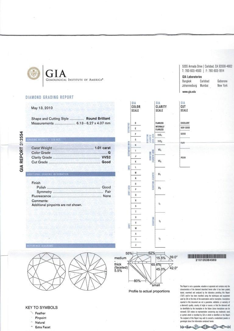 1.01 Carat Brilliant Cut Diamond Platinum Ring For Sale 2