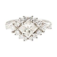 1.01 Carat Certified Princess Diamond and 0.65 Carat Platinum Engagement Ring