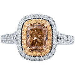 1.01 Carat Cushion Cut Natural Fancy Brown/Orange, Yellow and White Diamond Ring