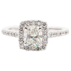 1.01 Carat Cushion GIA Certified Diamond Halo Ring 18 Carat White Gold