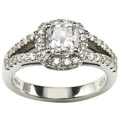 1.01 Carat D SI1 Cushion Diamond Platinum Ring