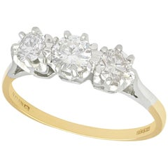 1.01 Carat Diamond and Yellow Gold Trilogy Engagement Ring