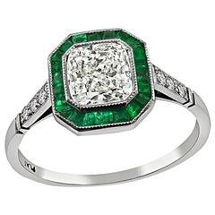 1.01 Carat Diamond Emerald Engagement Ring