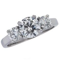 1.01 Carat Diamond Engagement Three-Stone Platinum Ring