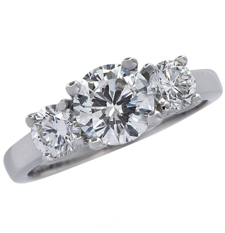 1.01 Carat Diamond Engagement Three-Stone Platinum Ring For Sale